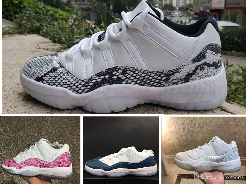 666c0f83ff1 2019 2019 New 11 White Snakeskin Low Men Basketball Shoes 11s Sports Pink  Blue Sneakers Trainers Outdoor High Quality Size 7 13 From Hxsports