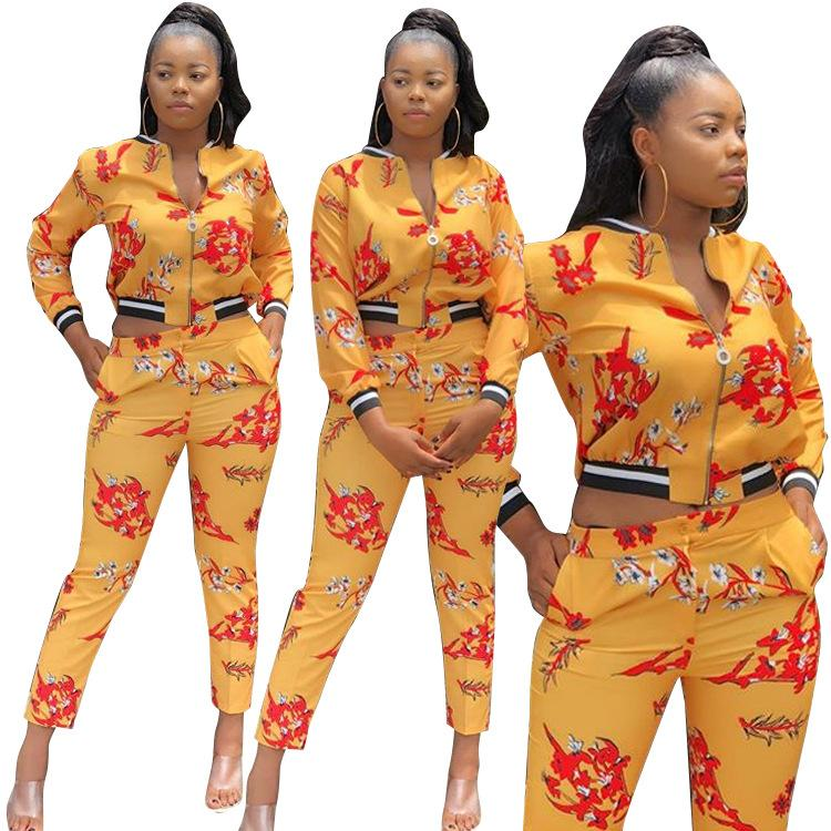 Women Floral Printed Casual Tracksuit Cardigan Top and Pants 2 Piece Woman Set Autumn Winter Fashion Outfit Sweatsuits Clothes