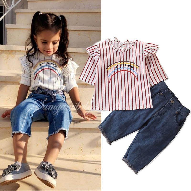 INS girls fall boutique clothing rainbow baby girls suits stripe blouse tops+Jeans PP pants 2pcs kids designer clothes girls sets A7392