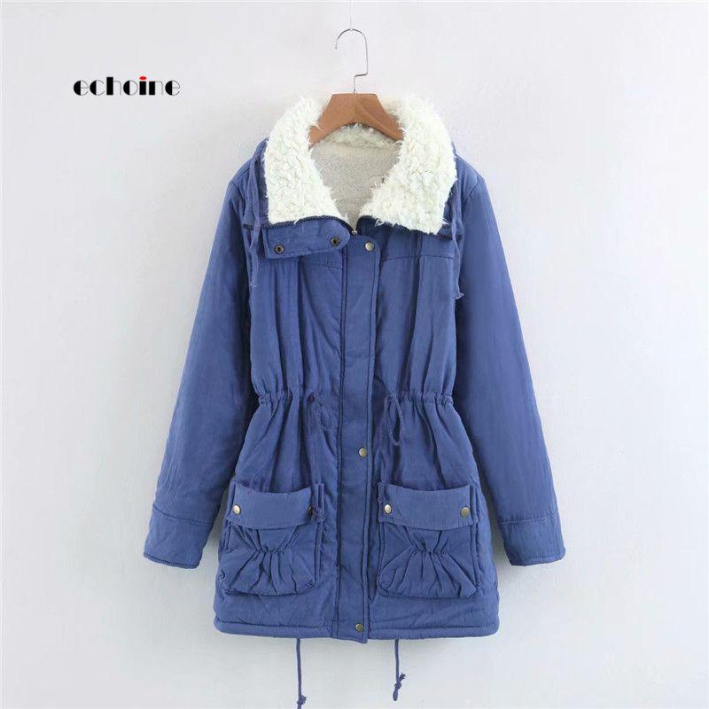 dccbef6d2da6 Echoine Women Coat Long Sleeve Turn-Down Neck Zipper Button Warm ...