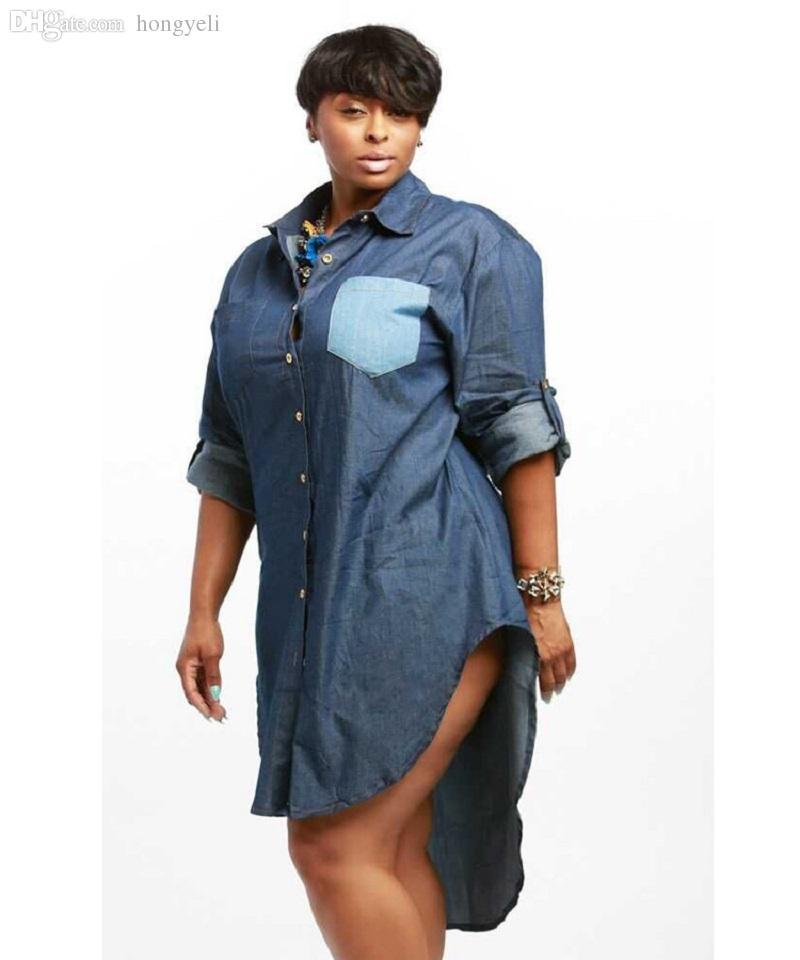 Autumn Fashion Women Casual Fit Denim Jean Dress Plus Size Long ...