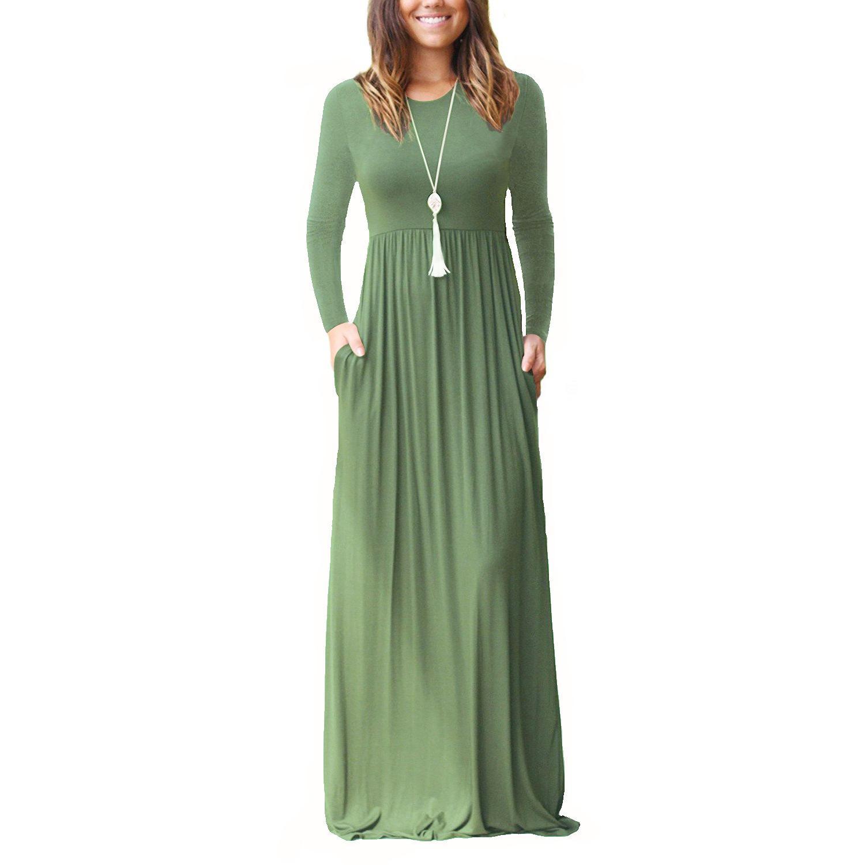 e5eb16bf3d2 Compre 2019 Maxi Vestido Casual Moda Mujer Vestidos Sueltos Vestidos  Sólidos De Manga Larga Cuello Redondo Largo Atractivo Elegante Vestido De  Las Mujeres ...