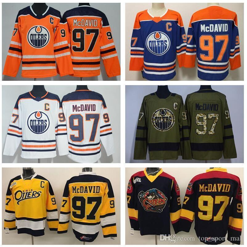 quality design ba637 ce8ce Edmonton Oilers Connor Mcdavid Jersey 97 College Otters Premier Ohl Coa Ice  Hockey Uniforms Orange White Blue Black Man Woman Kids Youth