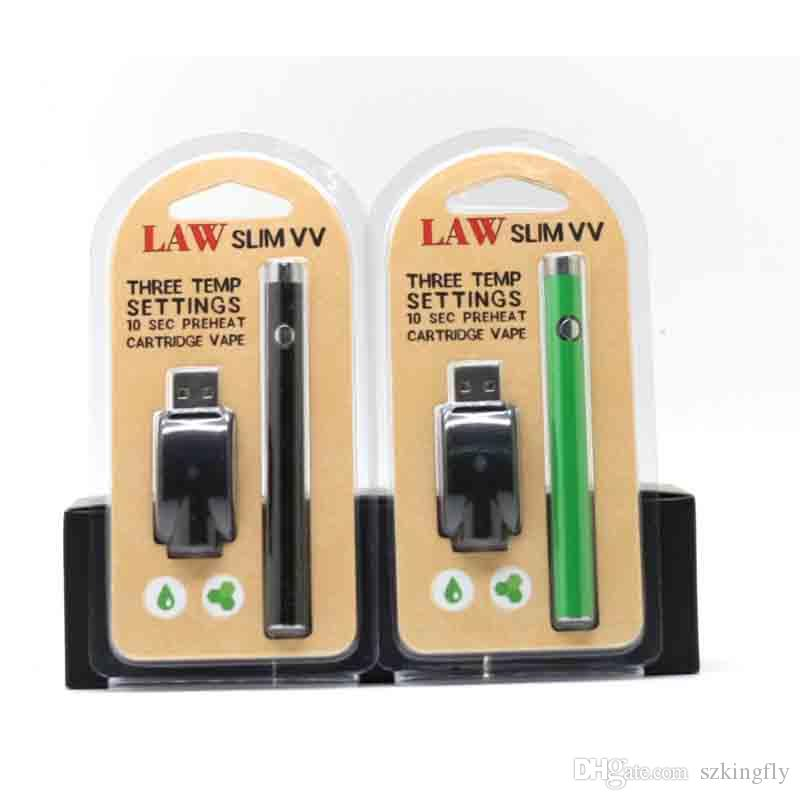 LAW Slim Battery 280mah Button Preheating VV Battery Charger Kit Vaporizer Pen Usb Charger Vape Pen Fit 510 CE3 Thick Oil Cartridge