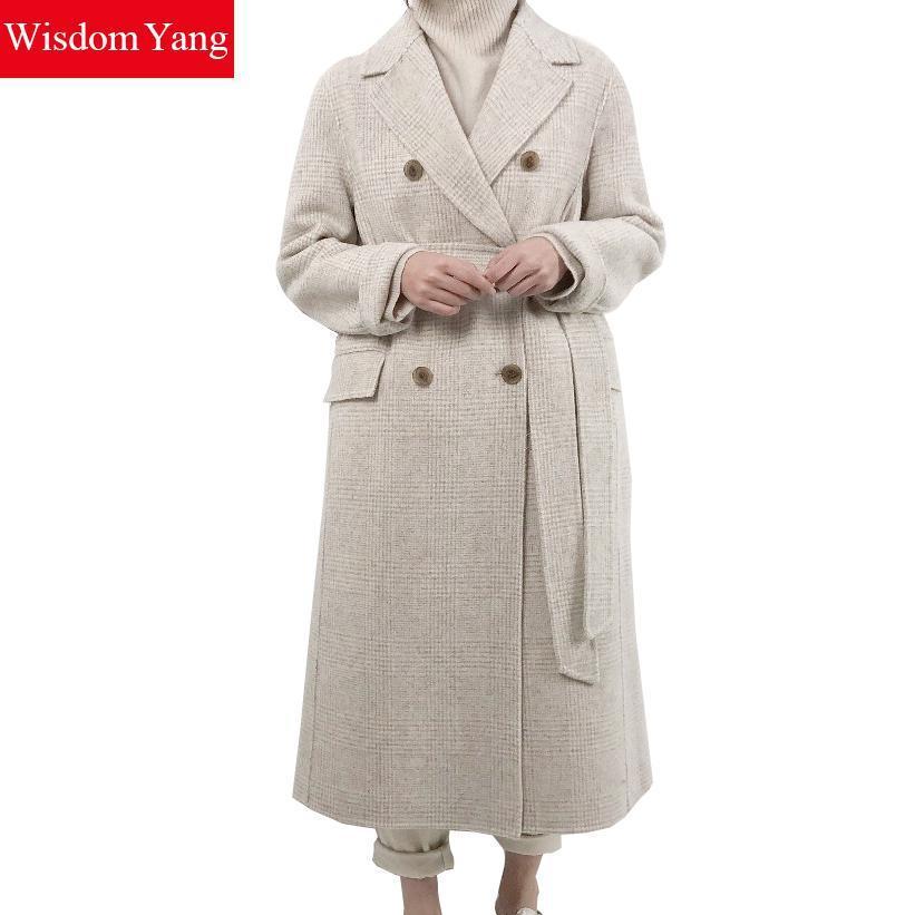 28c8de46 Cálido traje de invierno para mujer blanco negro a cuadros ovejas abrigos  de lana hembra largo delgado abrigo de abrigo abrigo chaquetas de oficina  ...