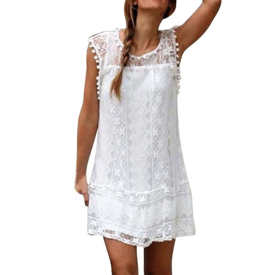 ab8b7c42233 2019 New Arrival Women Casual Lace Sleeveless Beach Short Dress Tassel Mini  Dresses Fashion Sexy White Sundress Women Clothes Cheap Prom Dress Corset  ...