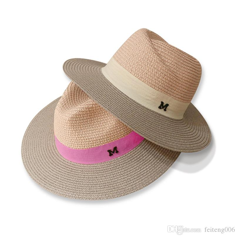 c68d8ad1 2019 Dropshipping Hot Sale Summer Sun Hats For Women M Letter Wide Brim  Ladies Straw Hat Beach Vacation Girls Panama Hat #47562 From Feiteng006, ...
