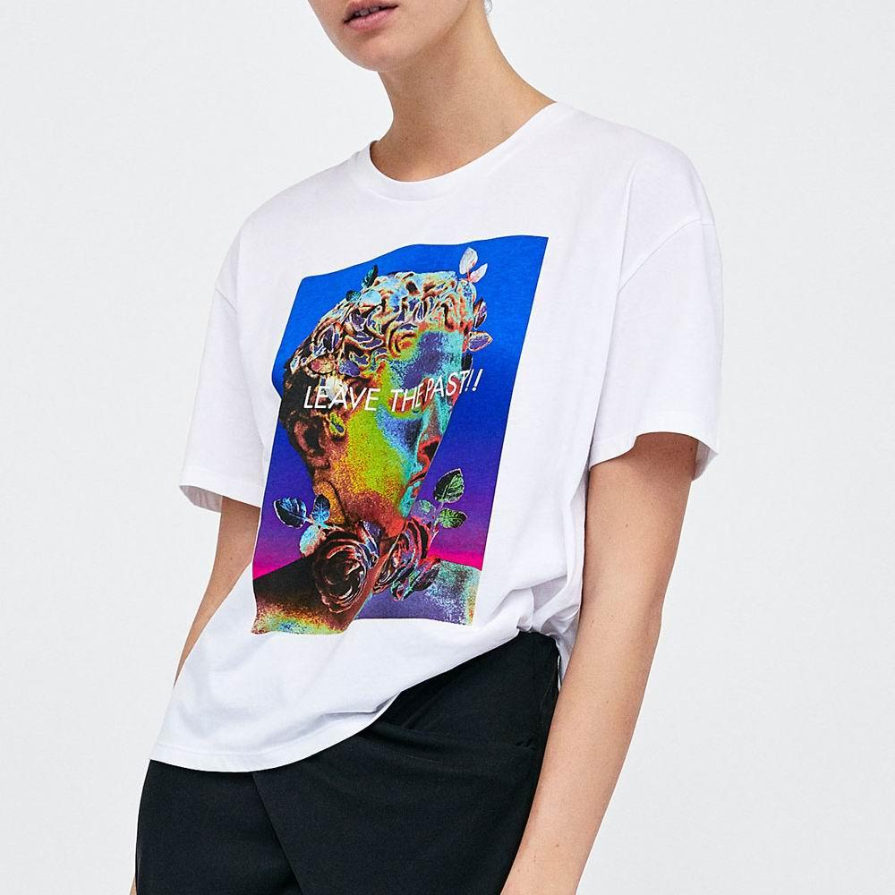 ce701fb6575a Женская футболка 2019 Лето Новая мода принты с рисунком из белого хлопка  Джерси ...