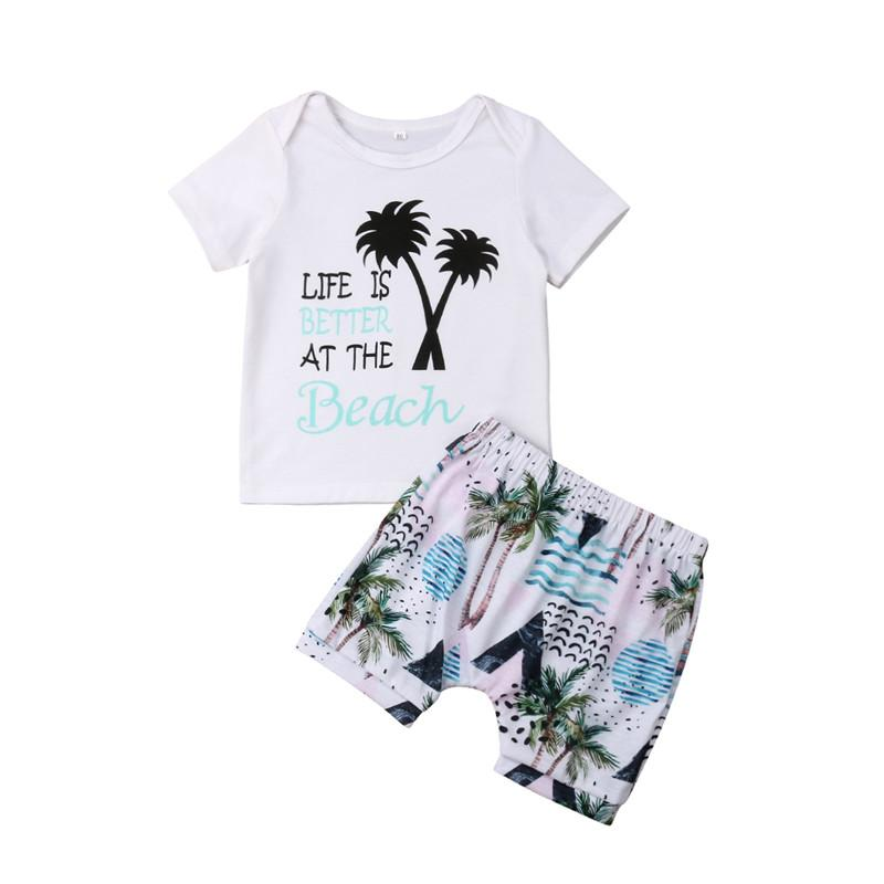 Children Kids Baby Boys Short Sleeve Letter Printed T shirt Tops+ Floral Shorts Clothing Suit Clothes Outfits Sets