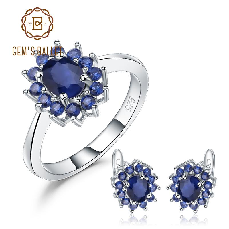 5a468a7fe2f7e GEM S BALLET Natural Blue Sapphire Flower Earrings Ring Set Real 925  Sterling Silver Jewelry Set For Women Wedding Fine Gift