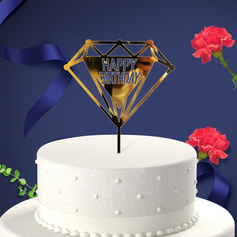 Acquista Glitter Happy Birthday Cake Topper Acrilico Lettera Oro