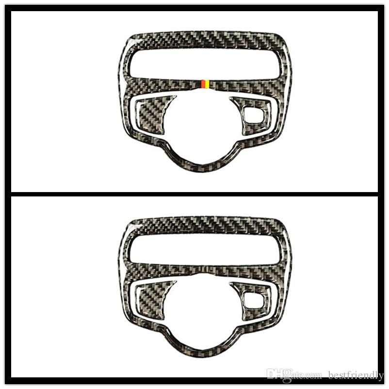 Fashion Design Carbon Fiber Headlight Switch Frame Cover Trim Car Styling Sticker For Mercedes Benz C Class W205 C180 C200 GLC Stickers