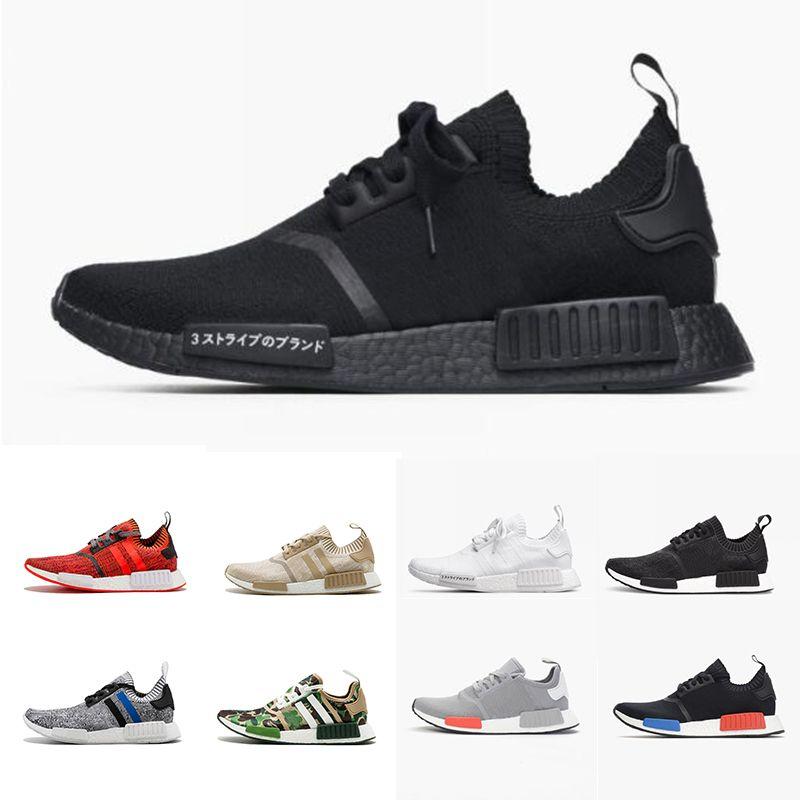 42ff5b7f6 2018 Wholesale R1 Shoes Discount Cheap Japan red gray NMD Runner R1  Primeknit PK Low Men  s   Women  s shoes Classic Fashion Sport Shoes