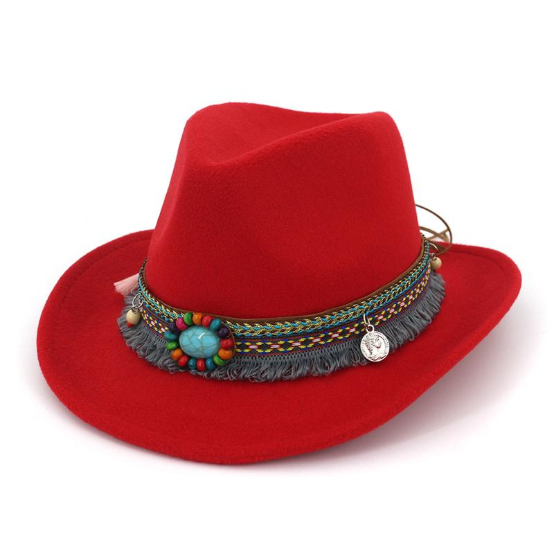 8f125f683 2019 New Handmade Wool Felt Cowboy Fedora Hats with Ethnic Band Roll Brim  Jazz Formal Hat Men Women Carnival Party Trilby Hat