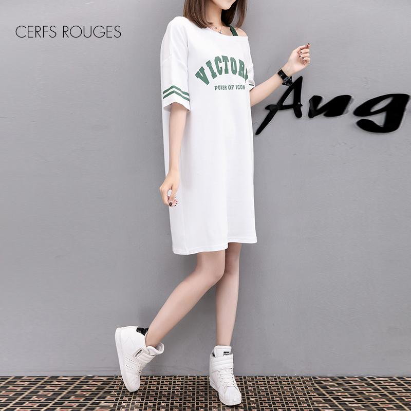 2018 Summer Cotton white Letter O-Neck women's dress for women female Women's clothing girls Preppy Style Short dress cute T5190605
