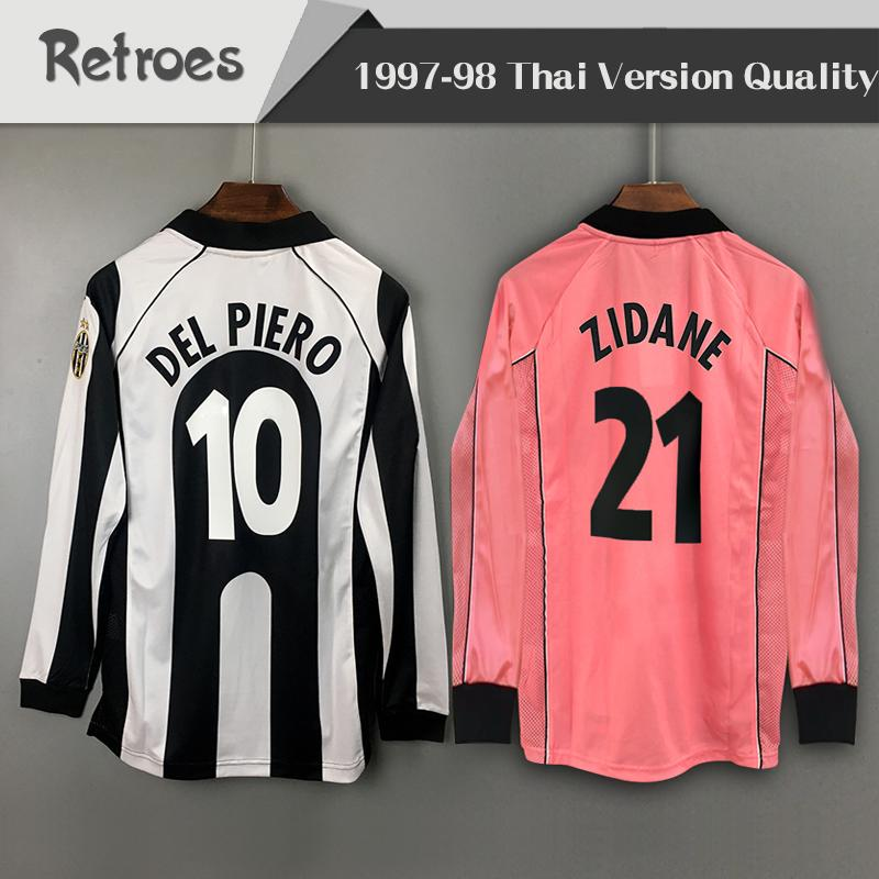 timeless design e57ef f60a4 long sleeve 1997 1998 Juventus Retro Home soccer jersey away pink #10 DEL  PIERO #21 ZIDANE 97 98 Classic LS Vintage Football Shirt