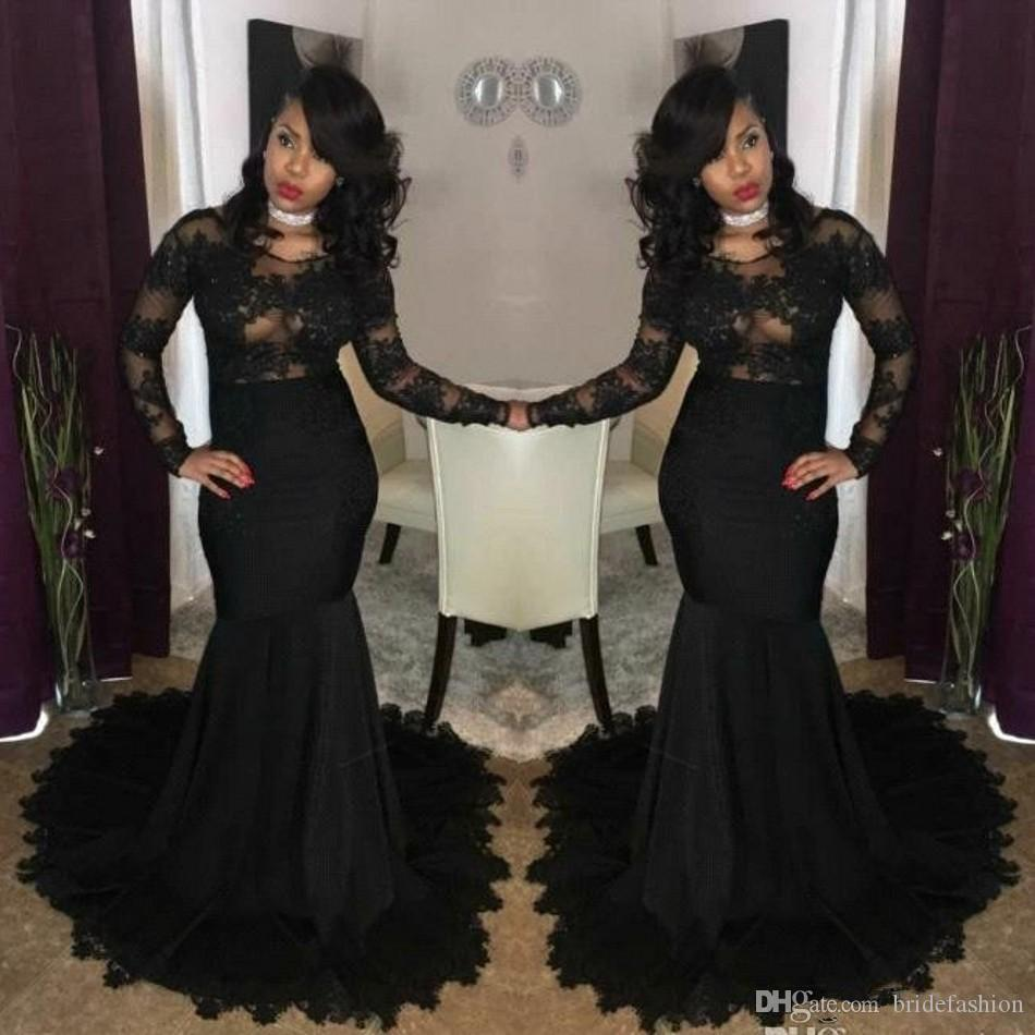 2019 Sexy Illusion African Black Prom Dresses Mermaid Jewel Neck Lace Appliques Long Sleeves Evening Gowns African Girls Party Wear