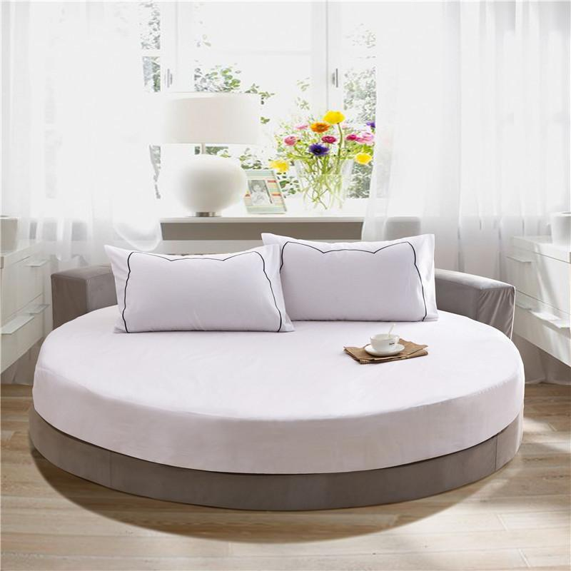 Round Fitted Bed Sheet Set 3Pcs 4Pcs Elastic Mattress Cover Protector Solid color cotton King Size Bedding Set For Round bed