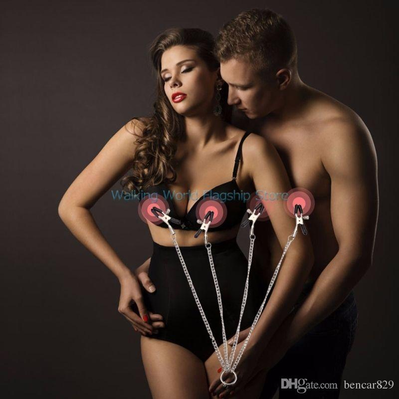 Acero inoxidable Cadena larga Nipple Clamps 4 Head Breast Clips Adultos Juego Juguetes Sexuales