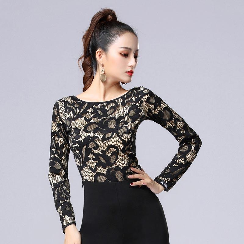 1cb2ca57c4e028 2019 Latin Dance Top Ladies Sexy Lace Long Sleeves Shirts Women Practice  Performance Dancing Clothes Cha Cha Salsa Dancewear DNV11209 From Alluring,  ...