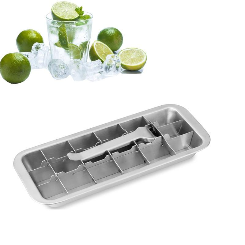 Lever style Cube Tray 2 In 1 Stainless Steel Ice Making Mold And Ice Cracker Easy Make 18 Cubes At 1