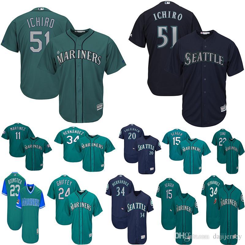 newest 519b7 58141 Seattle Men s Mariners Ichiro Suzuki Jerseys Ken Griffey Jr Cruz Edgar  Martinez Dan Vogelbach Felix Hernandez Kyle Seager Baseball Jersey