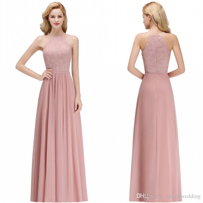 e16bec27ec 2019 Cheap Lace Chiffon Dusty Rose Bridesmaid Dresses Halter Neck Sheath  Beach Prom Gowns For Wedding Guest Evening Dress BM0057 Blue Bridesmaids  Dresses ...