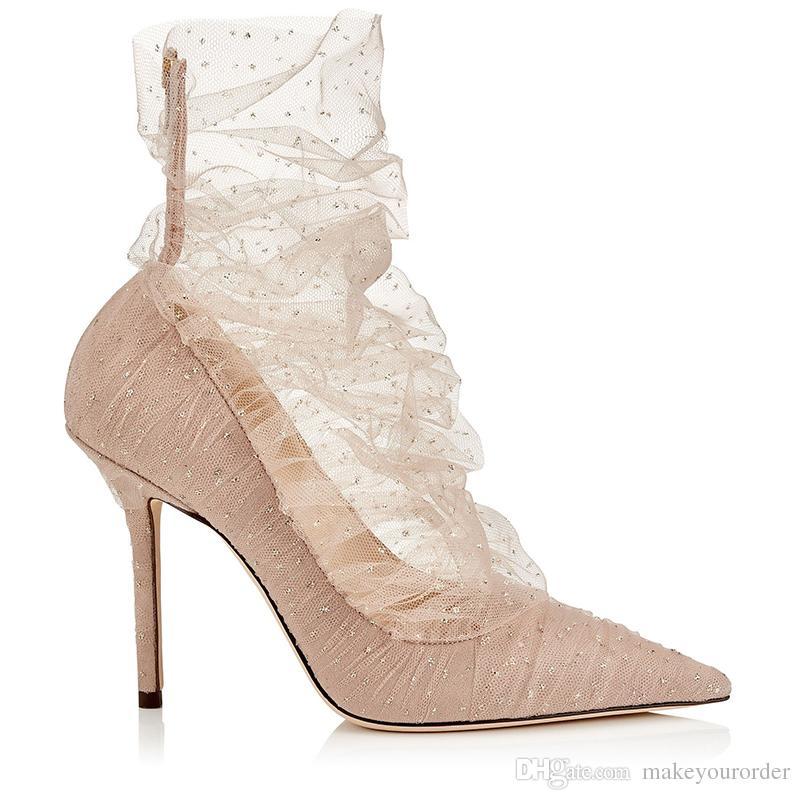 Compre Nuevo Encaje Sexy Zapatos De Boda De Color Nude Tacón Alto Dedo Del  Pie Puntiagudo Mujeres Vestido De Novia Zapatos De Novia 599 A  72.37 Del  ... 8ad495ebc480