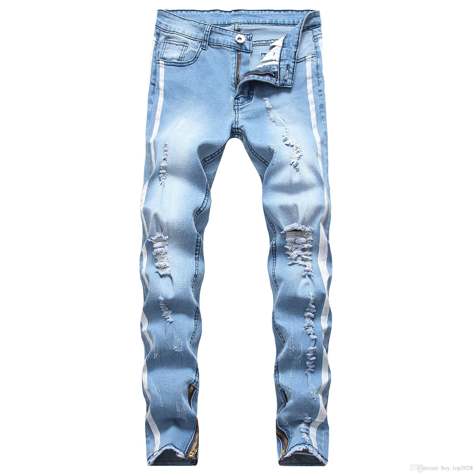S-3XL Distressed Ripped Jeans Slim Fit Motorcycle Biker Denim For Men Fashion Designer Hip Hop Mens Jeans Good Quality