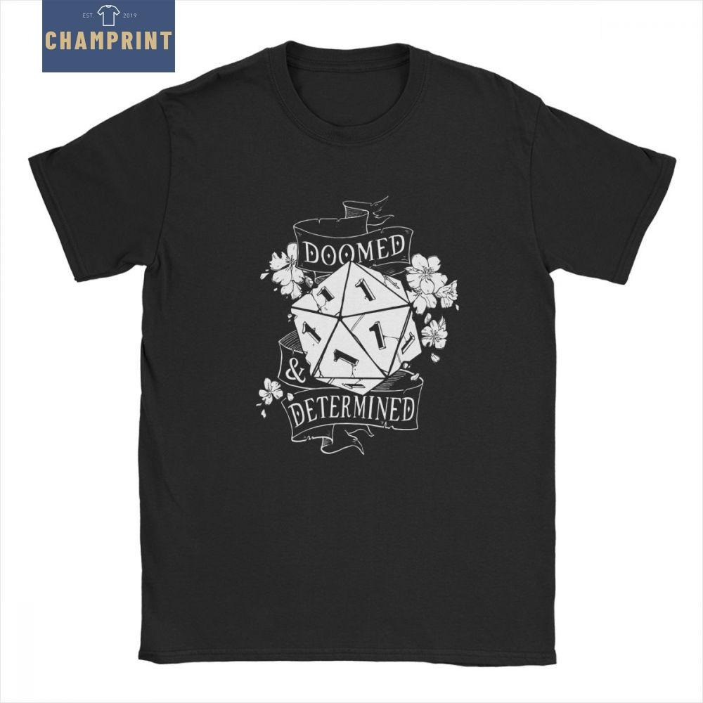 Doomed Determined Man's T Shirts D20 DnD Dungeons And Dragons Dice Die Vintage Cotton Short Sleeves Tees T-Shirt Design Tops