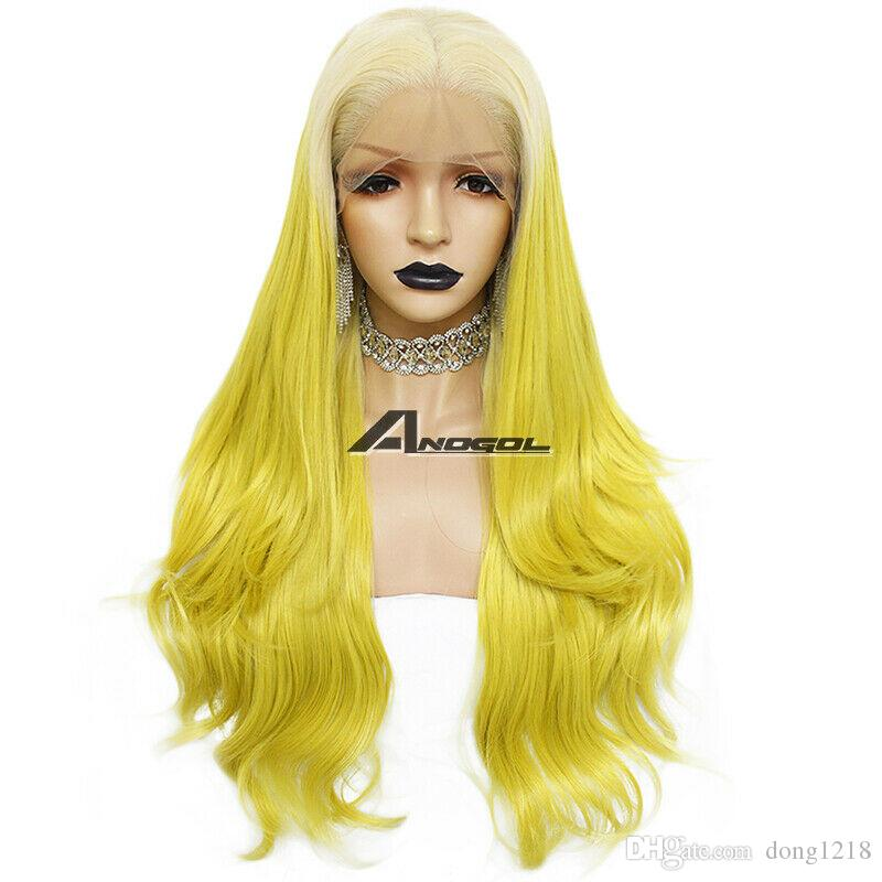 Deep Part Lace Front Wig Yellow Blonde Long
