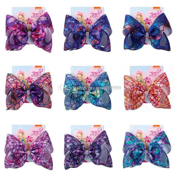 JOJO Siwa Mermaid Styles Hair Bows 11 Colors Jojo Bows With Clip hair  accessories for girls 8 inch Large Hair Bow