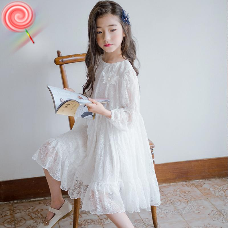 7dbd0a0f14 2019 2019 White Dress For Girls Long Sleeve Princess Beach Dress Spring  Summer Holiday Beach School Costume Big Girl Long From Humom, $62.15 |  DHgate.Com