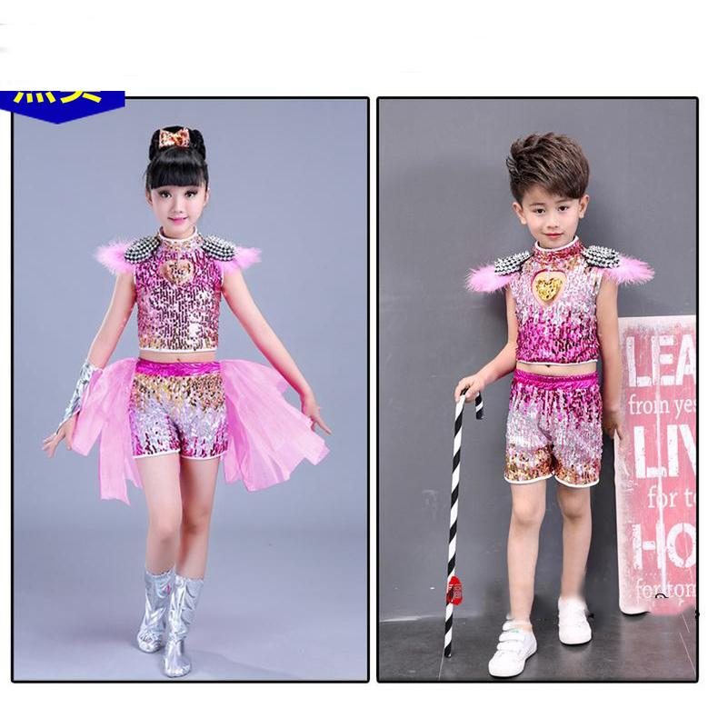 8419e0781f56 2019 Kid Boy Girl Sequin Jazz Costume Green Pink Red Cheerleader Hip Hop Costume  Modern Dance Performance Wear Suit Dress Clothes From Baxianhua, ...