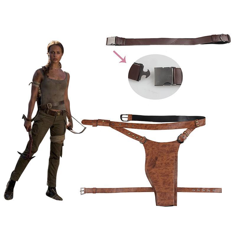 b613ef46b omb Raider Lara Croft Cosplay Correa bandolera con funda Cosplay Accesorios  Disfraz de Halloween Prendas de cuero Mujeres adultas Tomb Raid