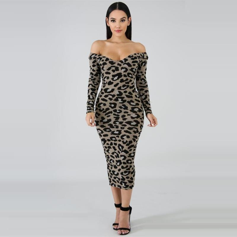 f3c09c11bf472 Leopard Print Women Bodycon Dress Sexy V Neck Off Shoulder Long Sleeve Club  Party Dresses Female Outfits 2018 Ladies Dresses Summer Dress Women Black  And ...