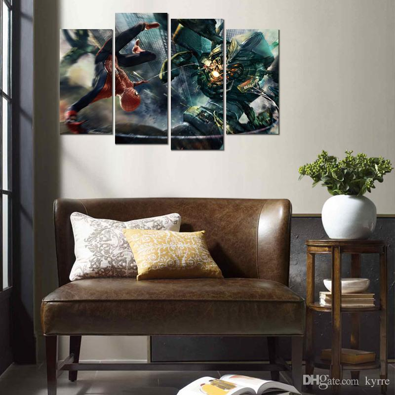 Canvas printed painting amazing spider man boss fight 4 modular wall pictures for living room