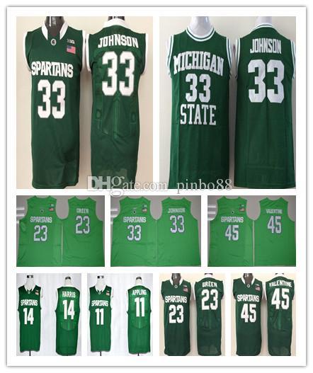 bce5e5cc1 2019 Men Michigan State Spartans College 33 Magic Johnson 14 Gary Harris 45  Denzel Valentine 23 Draymond Green 22 Miles Bridges Basketball Jersey From  ...