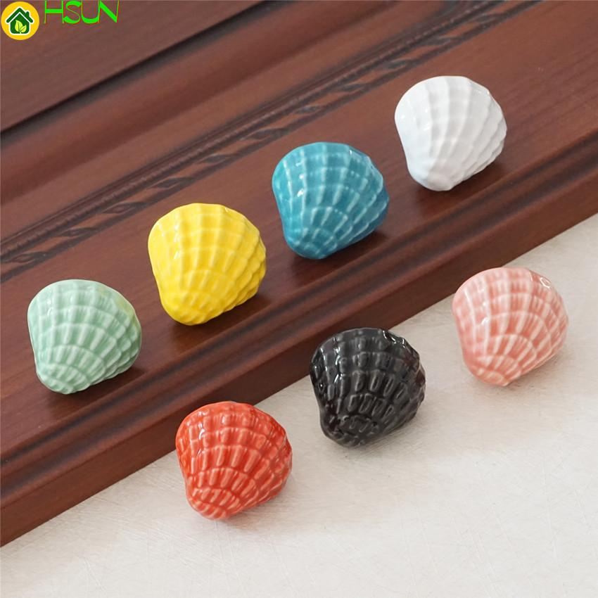 Cute Shell Knobs Ceramic Drawer Knob Pulls Blue Green White Kids Colorful Dresser Handle Pull Kitchen Cabinet Door Knob Child