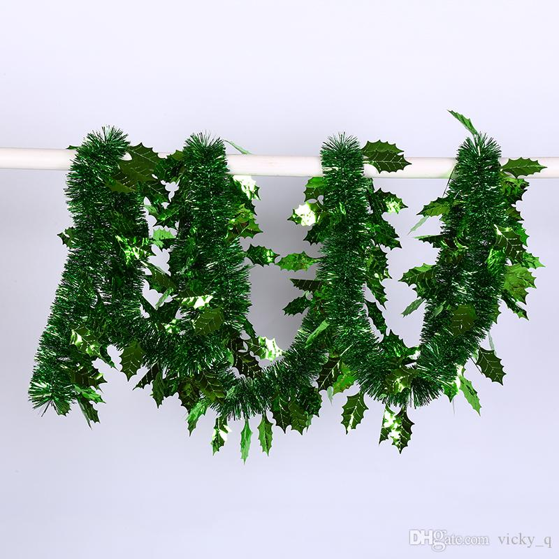 Largura 5 cm de Cor Pura com Folha de Ouropel Bandeira Garland Decoração para a Festa de Natal Casa Jardim Pendurado Fontes Da Árvore de Natal