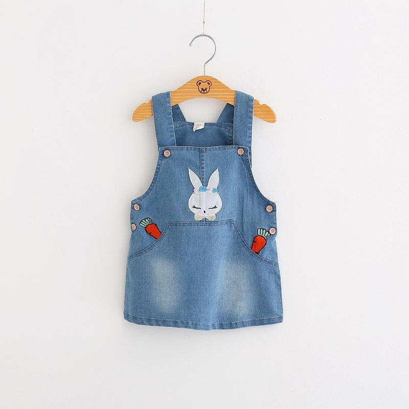 c1e2eff184 Spring Baby Girl Denim Dress 2018 New Cartoon Pattern Rabbit Embroidery Girls  Overalls Sleeveless Sundress Kids Infant Clothes UK 2019 From Cynthia08