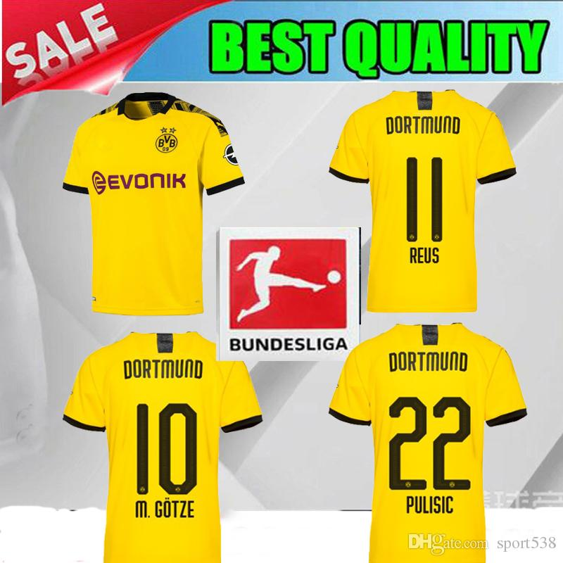 f9efa435f19 2019 2019 Dortmund Home PULISIC Soccer Jersey 19 20 Dortmund KAGAWA ...