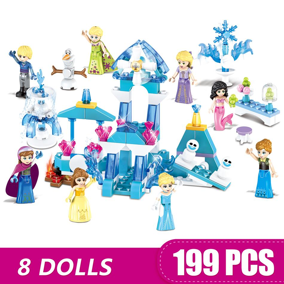 8 dolls Small Building Blocks Toys Compatible with Legoe Sparkling Ice Castle Gift for girls boys children DIY