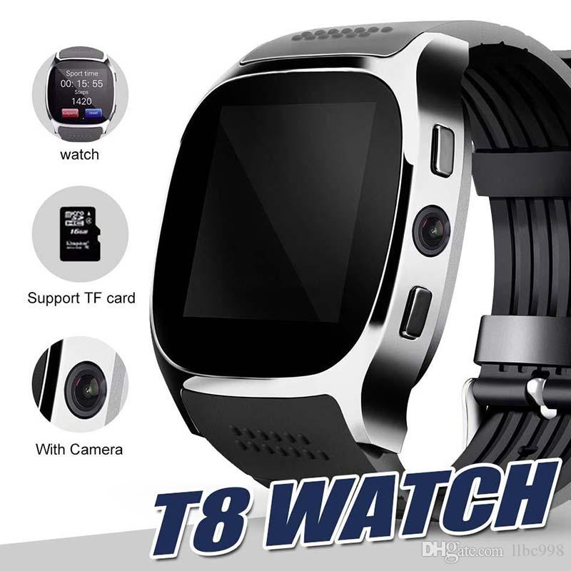 For apple iPhone android T8 Bluetooth Smart watch Pedometer SIM TF Card With Camera Sync Call Message Smartwatch pk DZ09 U8 Q18