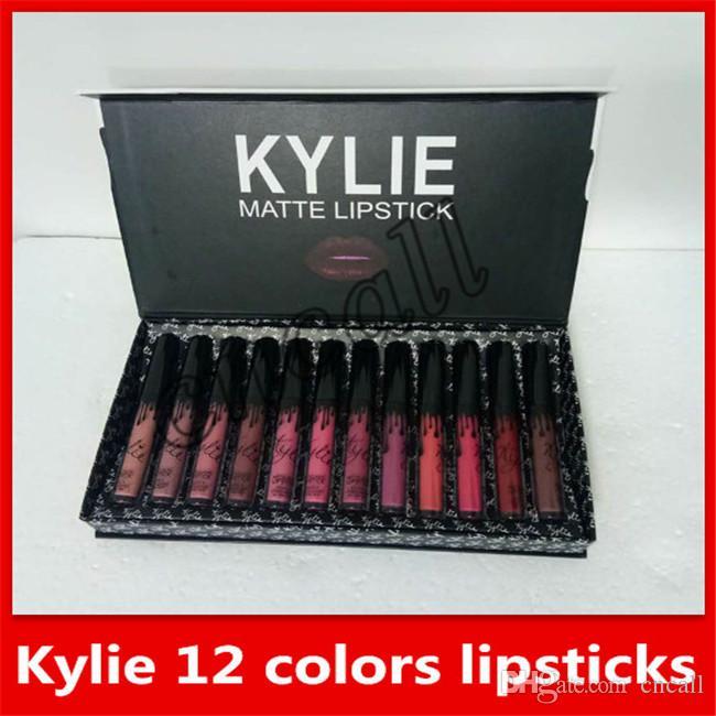 Satın Al 2018 Yeni Makyaj Kylie Mat Ruj Seti 12 Renk Set Sıvı Ruj