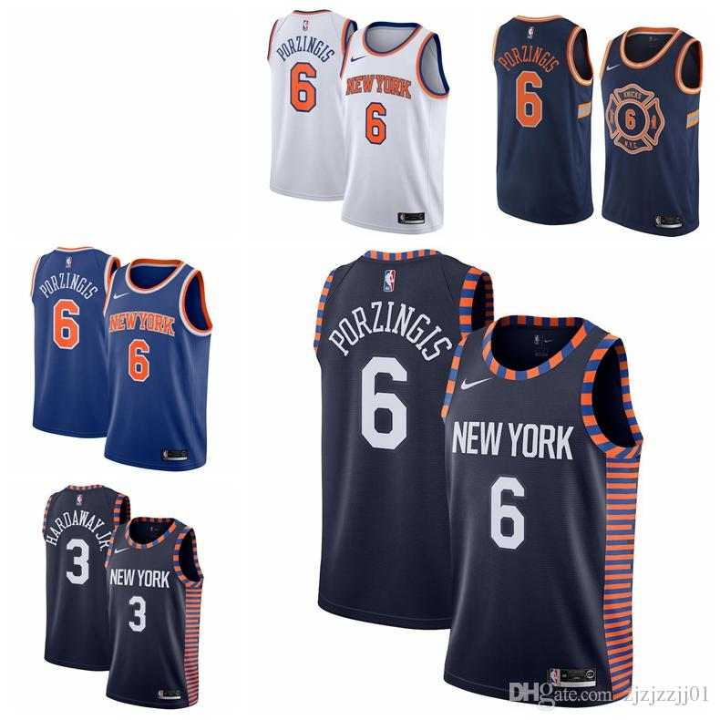 pretty nice b43ff 1883b 2019 6 Kristaps Porzingis Knicks Jersey The City New York 14 Trier Knox 20  Basketball Jersey NEW