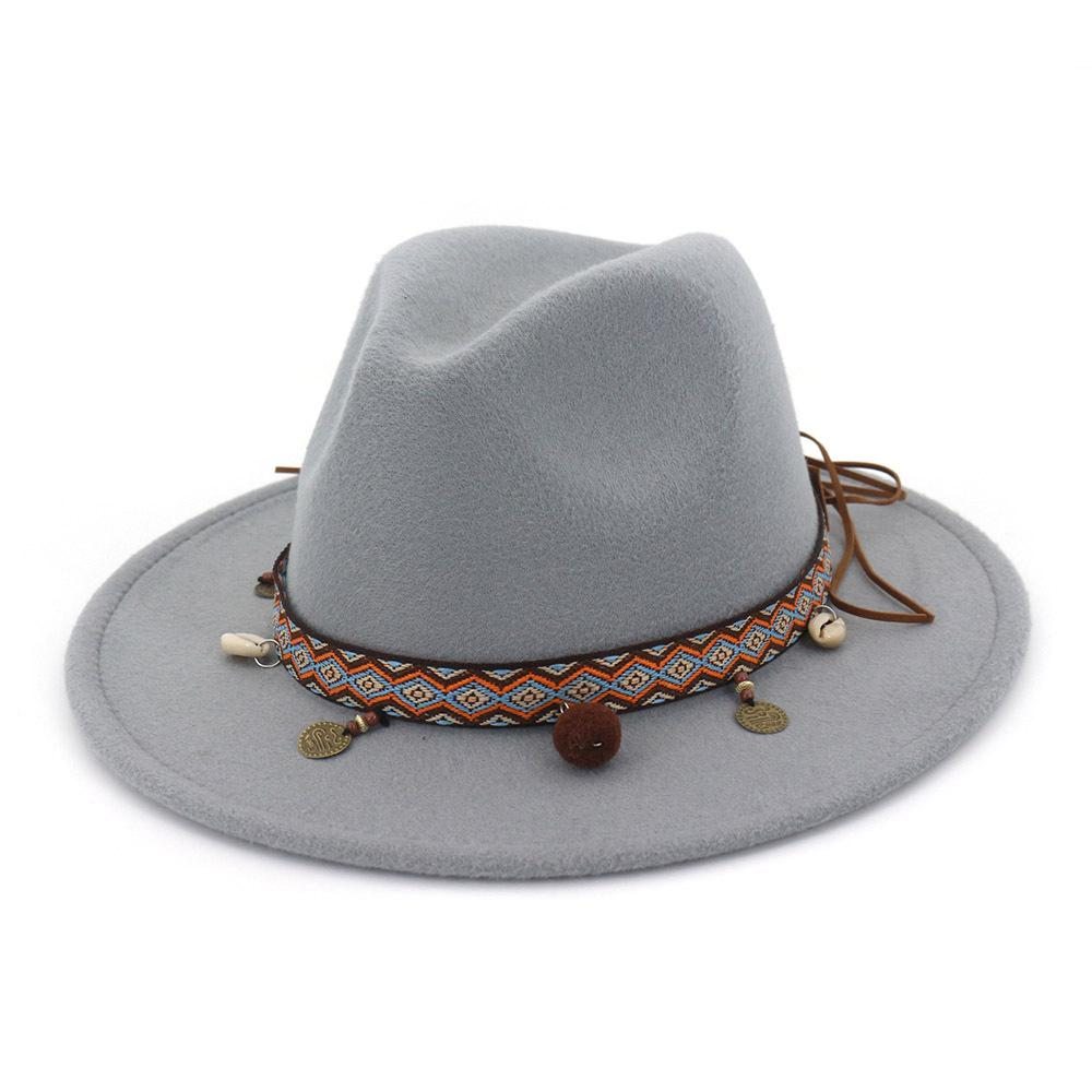 18277f118 Retro Women Wool Western Cowboy Hat Roll-up Wide Brim Cowgirl Jazz  Equestrian Sombrero Cap With National Style Ribbon AD0855
