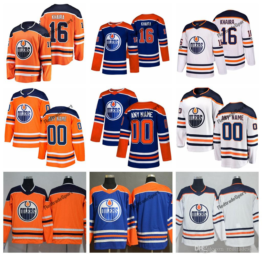 super popular 65321 adaf3 2019 Customize Edmonton Oilers Jujhar Khaira Hockey Jerseys Mens Alternate  New Blue Orange 16 Jujhar Khaira Stitched Jerseys Shirts S-XXXL