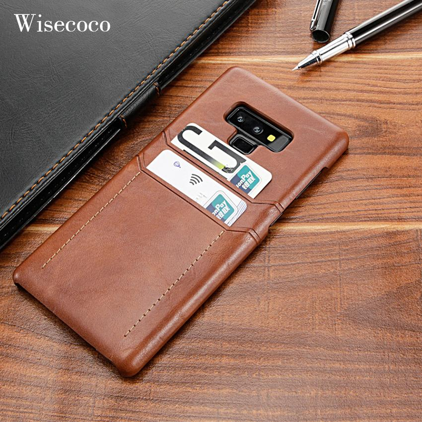 check out a88d9 e940f Card Holder Case for Samsung Galaxy Note 9 8 Luxury Leather Wallet  Shockproof Slim Hard Back Cover for Galaxy S9 S8 Plus Case