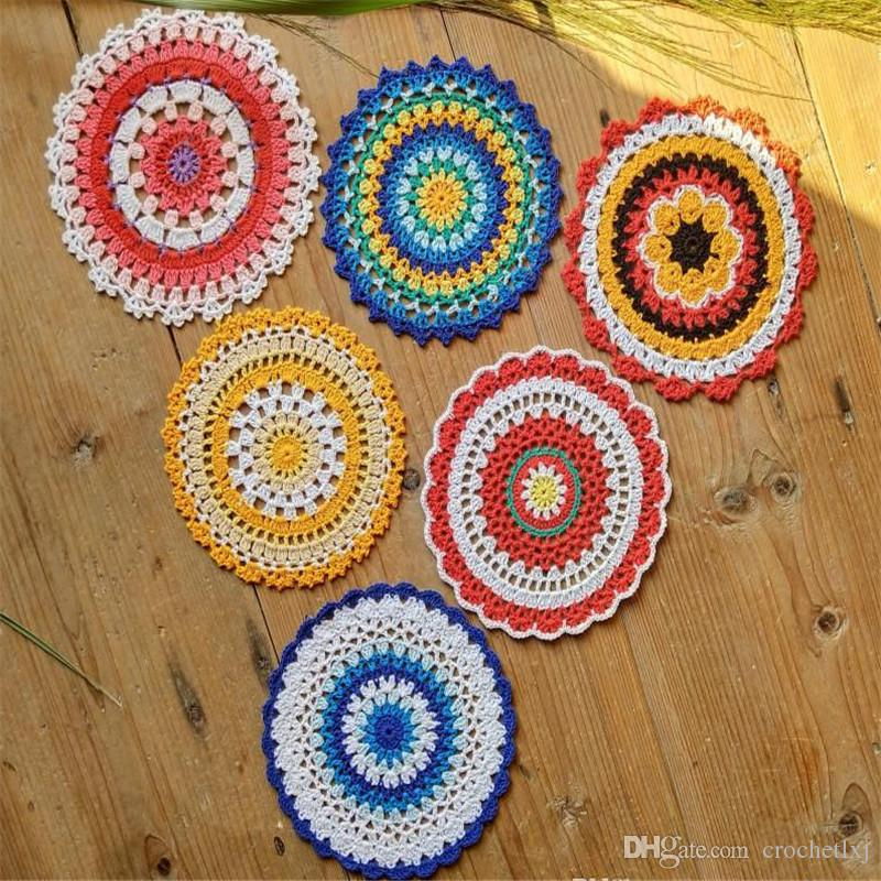 Lot of 12 pcs 6 Design ~ Lace doily Size:16-17cm Hand Crochet mandala pattern Colorful doily Table centerpiece Coaster Tablecloth Y2Y0015